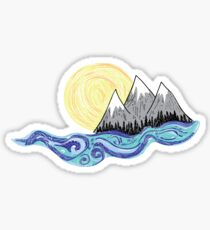 Mountain Sun and Water Sticker- Laptop Stickers- Trendy Stickers Sticker