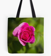 A Single Magenta Rose Amidst the Green Tote Bag