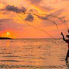 Bali Sunrise Fisherman by Bobby McLeod
