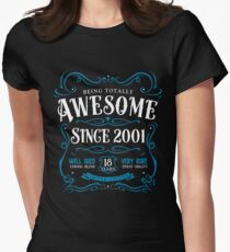 18th Birthday Gift Awesome Since 2001 Fitted T-Shirt