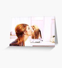 Shy Orange Furry Feline Greeting Card