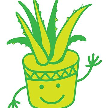 Hello Aloe! with cute pot plant waving Hi! by jazzydevil