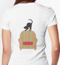 Cat on a striped armchair Womens Fitted T-Shirt