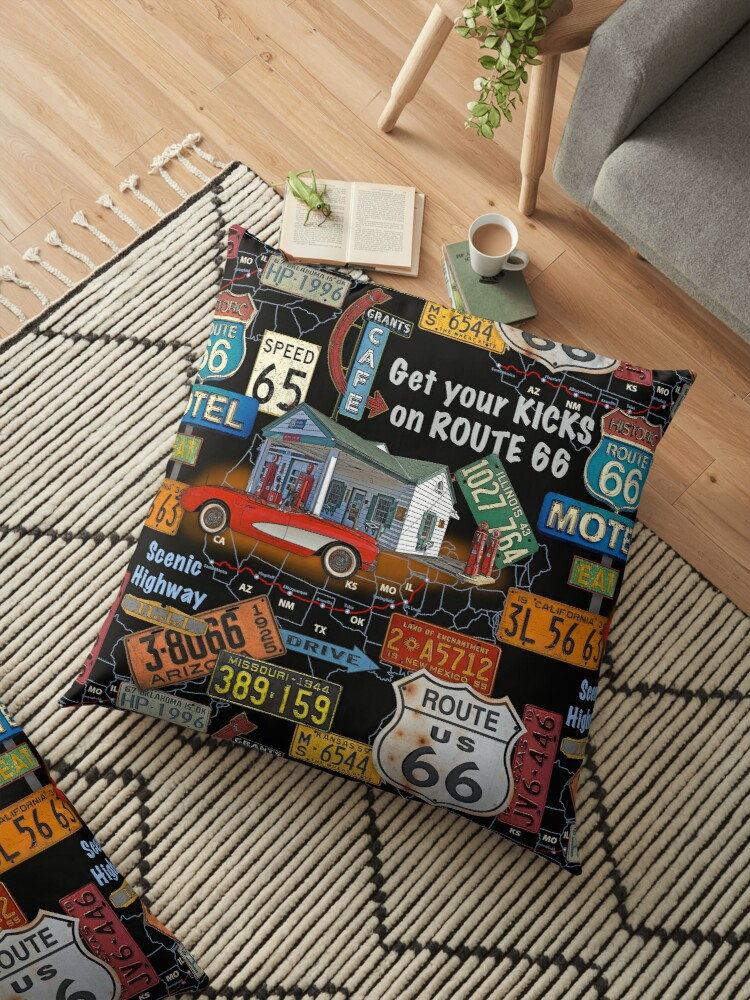 'Route 66-JP3934' Floor Pillow by Jean Plout on watercolor usa map, license plates for each state, time usa map, color usa map, golf usa map, reverse usa map, driving usa map, leapfrog interactive united states map, list 50 states and capitals map, flag usa map, motorcycle usa map, decals usa map, state usa map, baseball usa map, basketball usa map, license plate map art, paint usa map, license plate world map, map usa map, art usa map,