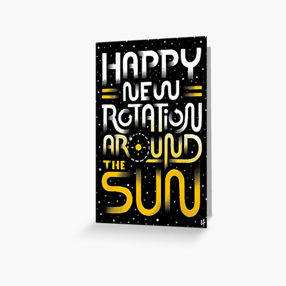 Glückliche neue Drehung um die Sonne Grußkarte