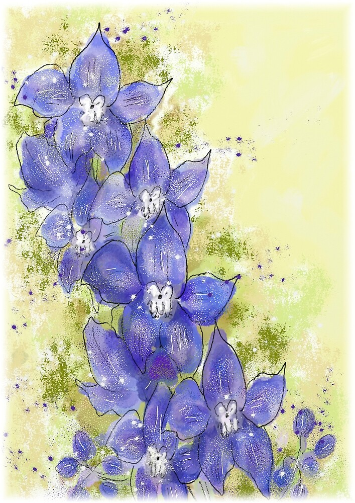 Whimsical Blue/Purple Delphinium Floral Painting by Clare Walker