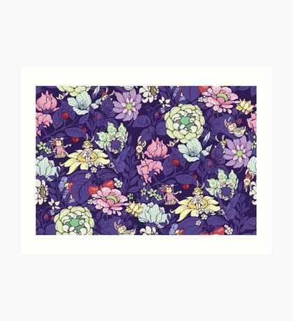The Garden Party - blueberry tea version Art Print