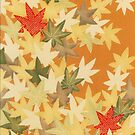 Autumn Leaves Traditional Japanese Kimono Pattern by Vicky Brago-Mitchell