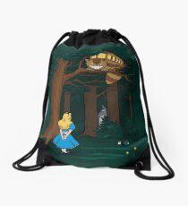 My Neighbor in Wonderland (Dark Green) Drawstring Bag