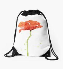 Red Poppy Watercolor Drawstring Bag