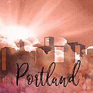 Portland | Stadt Skyline | Buntes Aquarell von PraiseQuotes