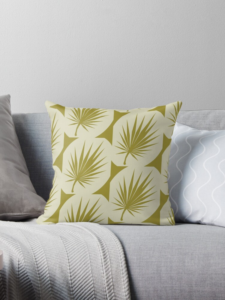 Amazing Tropical Palm Leaf Pattern Pink On The Mustard Background Throw Pillow By Arttyshenko Ocoug Best Dining Table And Chair Ideas Images Ocougorg