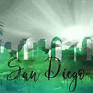 San Diego | Stadt Skyline | Buntes Aquarell von PraiseQuotes
