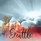 Seattle | Stadt Skyline | Buntes Aquarell von PraiseQuotes