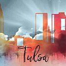 Tulsa | Stadt Skyline | Buntes Aquarell von PraiseQuotes