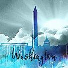 Washington | Stadt Skyline | Buntes Aquarell von PraiseQuotes