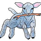For Awhile My Hands Were Gone, Lamb linocut by Una Scott