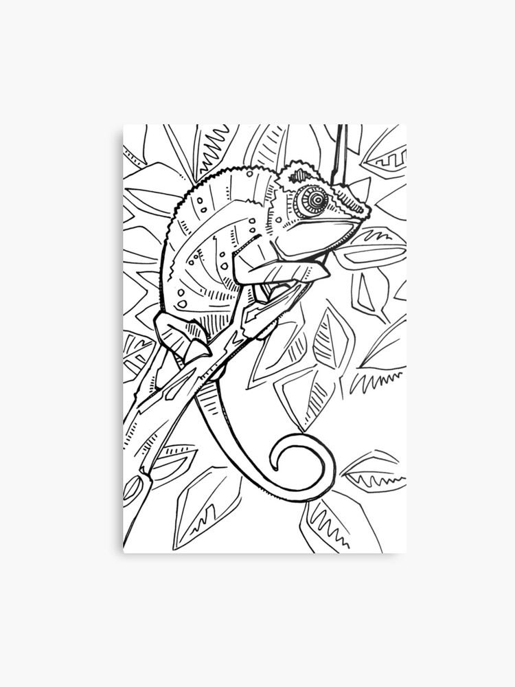 Panther Chameleon Coloring Book Page Metal Print