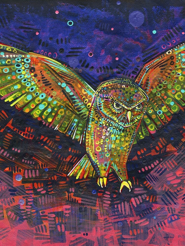 Owl painting - 2015 by gwennpaints
