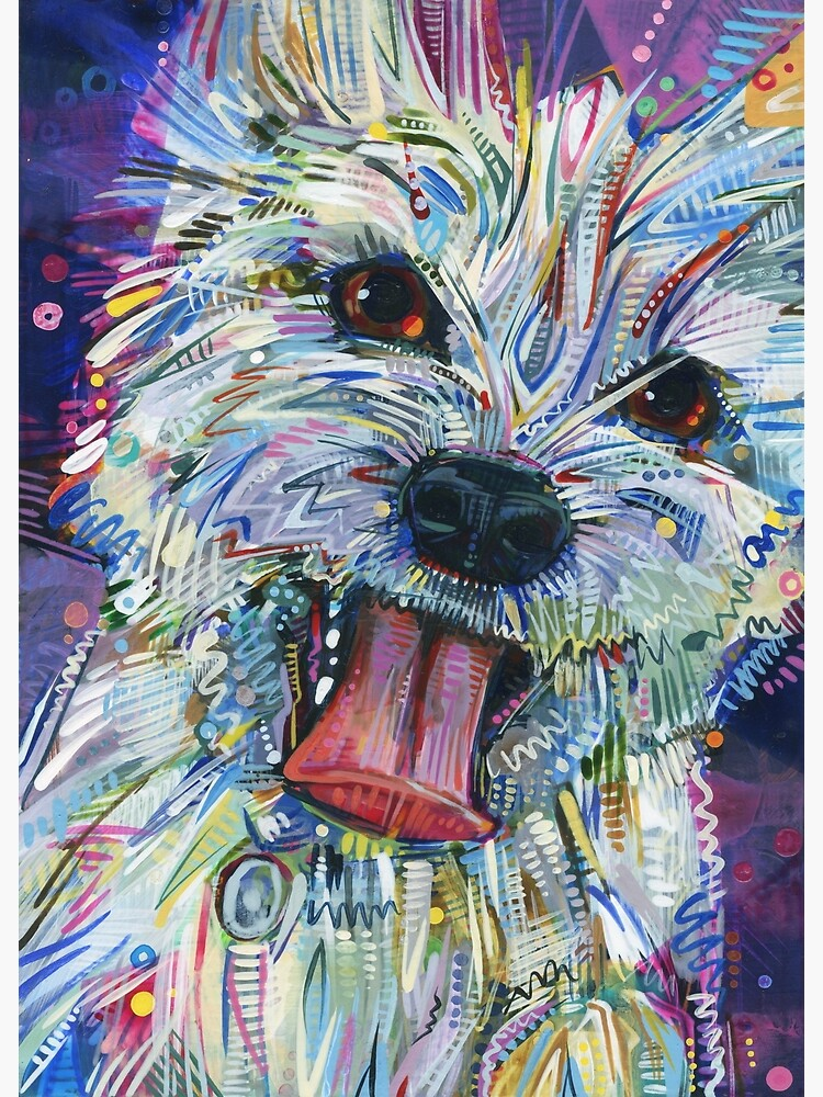 Westie mix painting - 2012 by gwennpaints