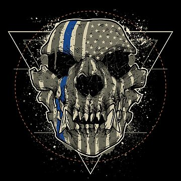 Awesome Blue Line Sheepdog Military Skull Nightmare Tshirt by drlayson