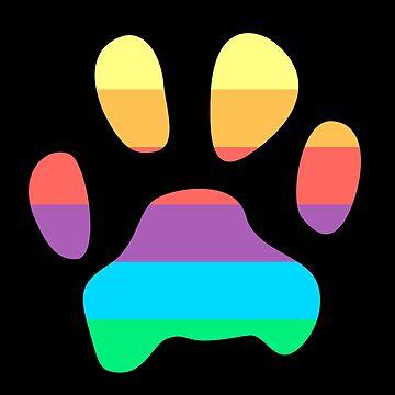 Rainbow Paw Print by mydragonzeatyou