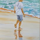 Boy on the beach red cap by Susan Brown