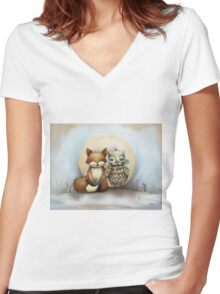 fox and owl Women's Fitted V-Neck T-Shirt