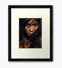 Young exotic woman with long black hair art photo print Framed Print