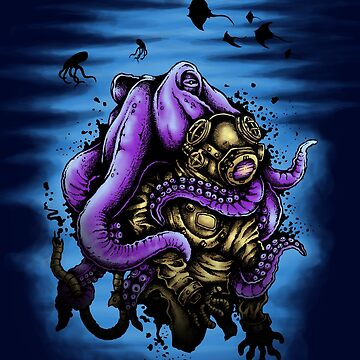 Ocean Water - Deep Sea Octopus Kraken Cthulhu Monster Scuba by drlayson