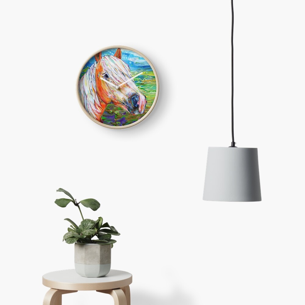 Haflinger horse (looking right) painting - 2012 Clock