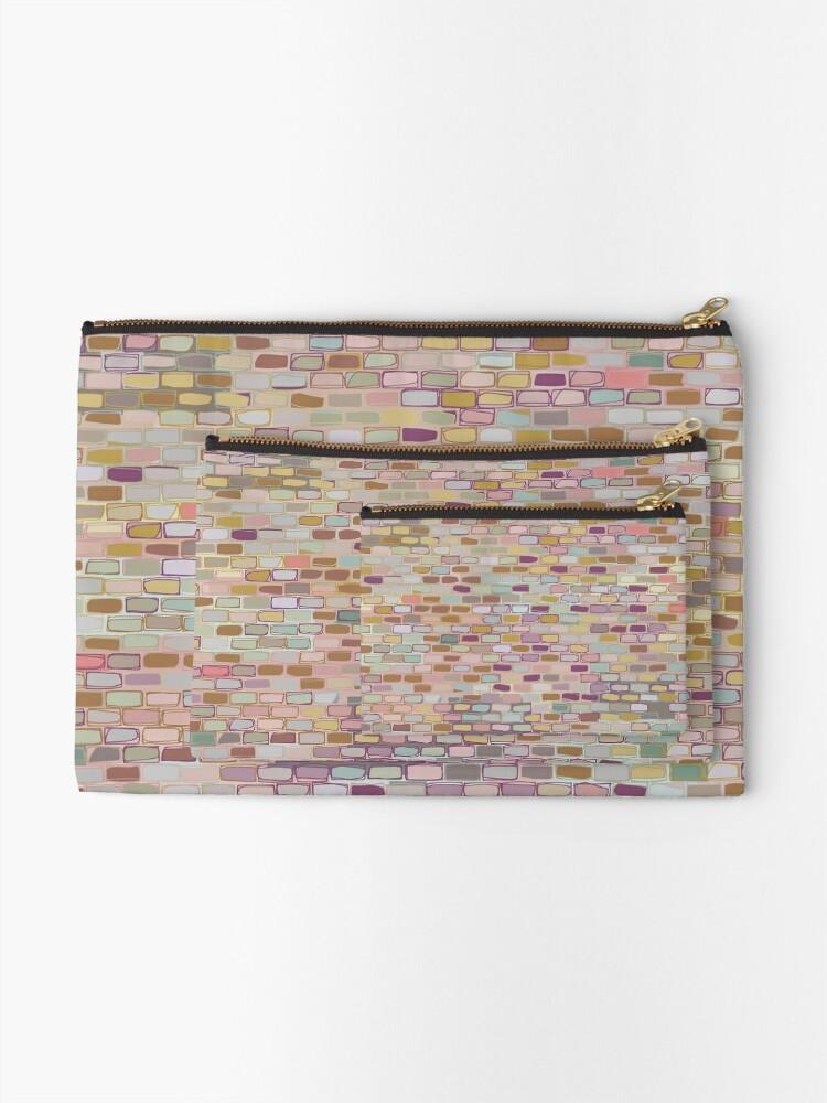 Alternate view of Stone wall (digital art) Zipper Pouch
