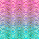 Gold art-deco pattern on pink to blue ombre by artonwear
