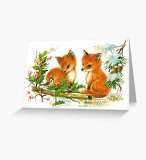 Liebling Vintage Winterfüchse Grußkarte