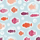 Fish in bubbles pink orange blue seamless pattern by Sandra Hutter