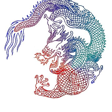 Asian Art Rainbow Dragon Tattoo Style by Zehda