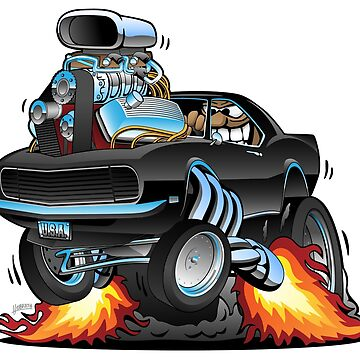 Classic Sixties American Muscle Car Popping a Wheelie Cartoon Illustration by hobrath