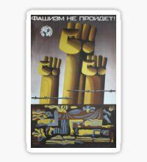 """""""Faschismus wird nicht durchgehen!"""", UdSSR, 1983, Antifaschistische Propagandakunst der """"Jugend enthüllt den Imperialismus"""" - Künstler L. Levshakova und V. Karshakov Sticker"""