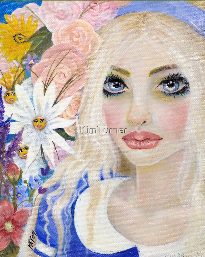 Alice in the Garden of Live Flowers, Original Art, Kim Turner Art by KimTurner