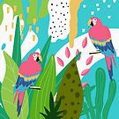 Tropical forest birds and flowers by artonwear