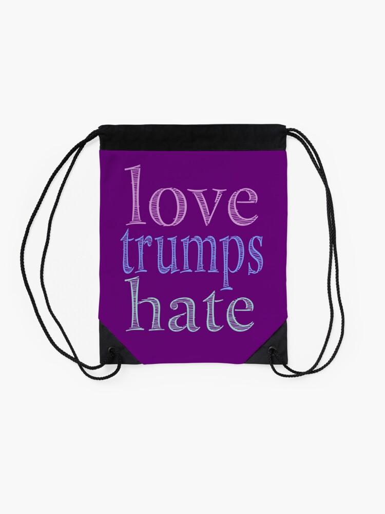 Alternate view of Love Trumps Hate Pretty Pastel Drawstring Bag