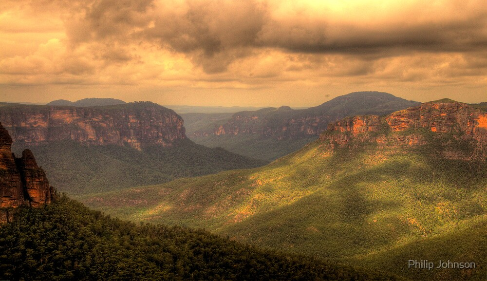 Light In The Valley - Govetts Leap, Blue Mountains, Sydney Australia - The HDR Experience by Philip Johnson