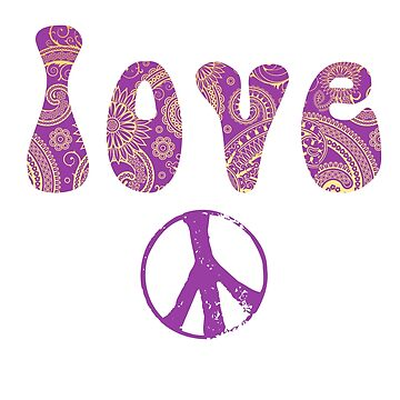 Love Cool Purple Paisley Hippie Peace Sign by Greenbaby