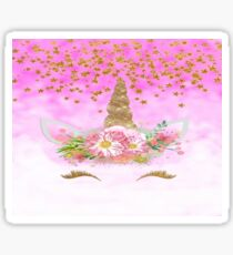 Pink Unicorn and Gold Stars Sticker