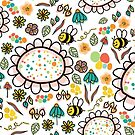 Bees and Flowers by Sandra Hutter