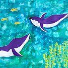 Purple Penguins Swimming  by BlossomRevival