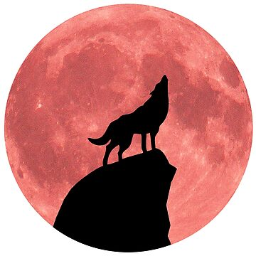 Wolf Howling at a Blood Moon by rontrickett