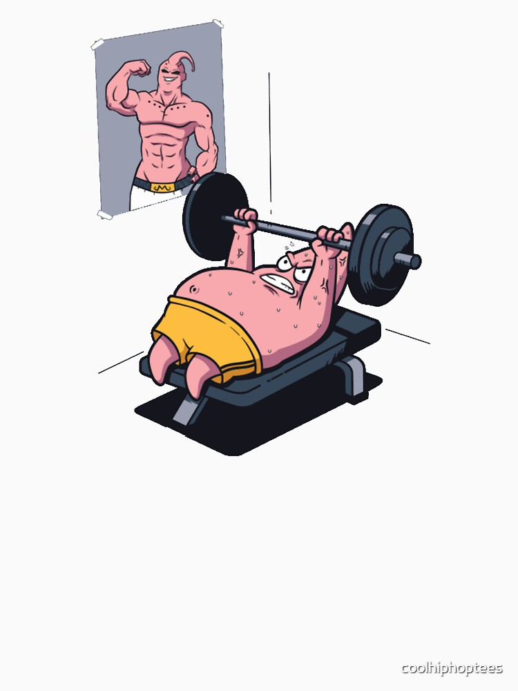 Patrick Star Working Out Majin Buu DBZ T-Shirt by coolhiphoptees