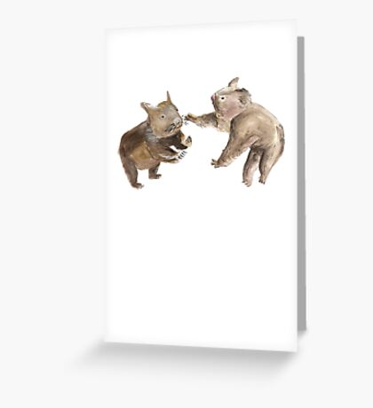 Koala Wombat Combat Greeting Card