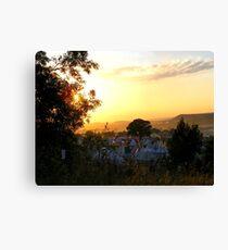 Sunset over the Teepee field, Glastonbury Festival. Canvas Print
